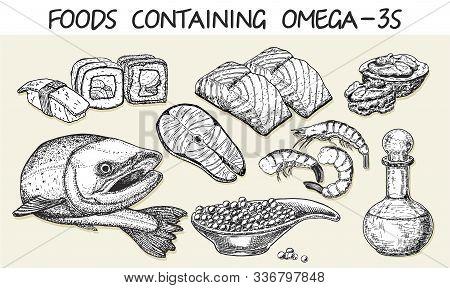 Best Sources Of Omega 3 Vector Sketch. Health Care Concept Sketch