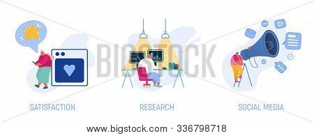 Set Woman Express Satisfaction Using Mobile App, Man Working On Laptop Research Information, Social
