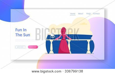 Happy Holiday, Summer Enjoy On Seaside Website Landing Page. Woman In Elegant Gown And Broad-brim St