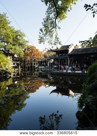 Suzhou, China - October 30, 2017: Evening At Lingering Garden, One Of  The Famous Classical Gardens