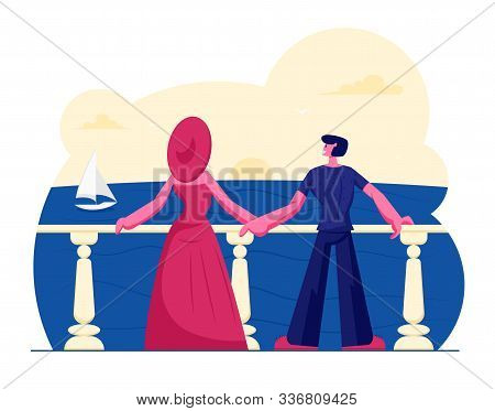 Young Couple Stand On Outdoor Terrace Looking On Beautiful Seascape With Floating Sailing Ship. Rela