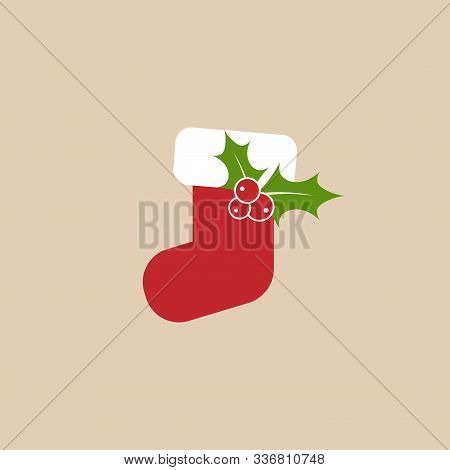 Christmas Stitched Stocking With Holy Berry In. White Sock With Red Seam Flat Icon.