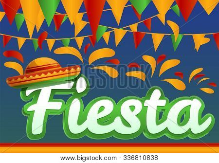 Fiesta Concept Banner. Cartoon Illustration Of Fiesta Vector Concept Banner For Web Design