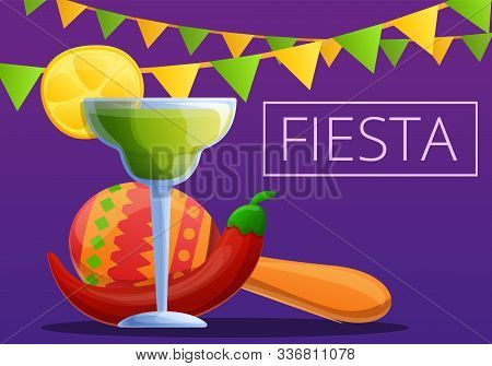 Night Fiesta Concept Banner. Cartoon Illustration Of Night Fiesta Vector Concept Banner For Web Desi