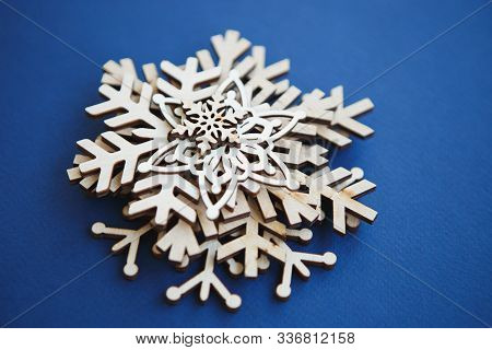Rustic Handmade Snowflakes For Christmas Flat Lay Background.hand Made Wooden Crafts For New Year Ho