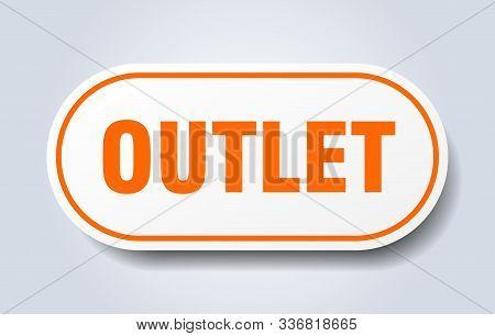 Outlet Sign. Outlet Rounded Orange Sticker. Outlet