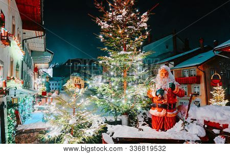 Santa Claus And Christmas Tree In Gruyeres Winter Night New