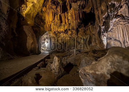 Beautiful Stalactite Formations Inside Of A Trung Trung Cave Cat Ba Vietnam