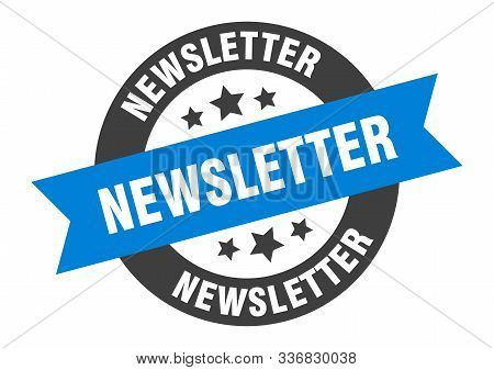 Newsletter Sign. Newsletter Blue-black Round Ribbon Sticker