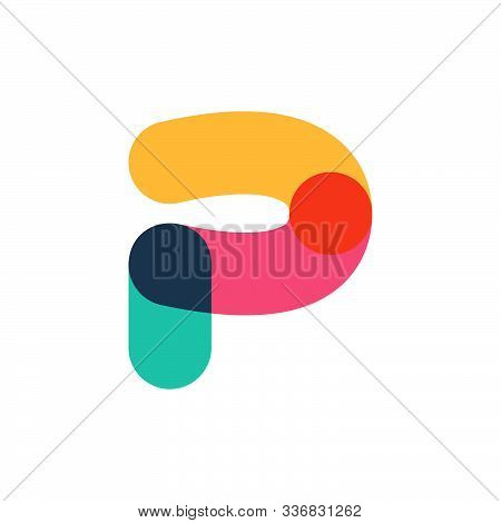 Overlapping One Line Letter P Logotype. Curve Rounded Font. Vibrant Glossy Colors.