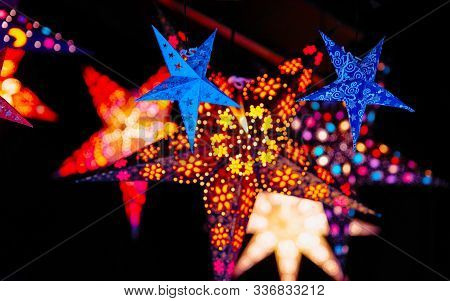 Star As Christmas Tree Decorations In Christmas Market In Germany Reflex