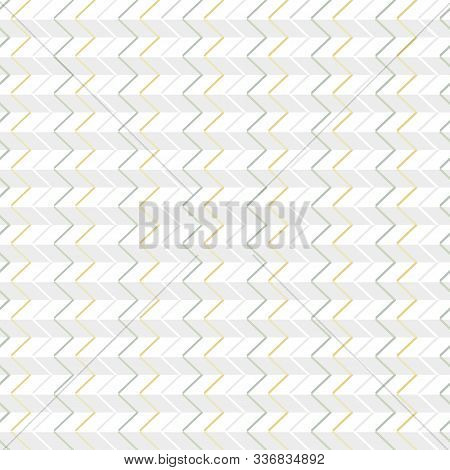Vector Abstract Zig Zags In Yellow Gray. And Green On White Gray Stripes Seamless Repeat Pattern. Ba