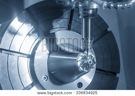 The  5-axis Cnc Milling Machine  Cutting The Hi-precision Automotive  By Solid Ball Endmill Tools. T
