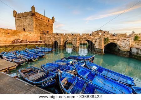 Essaouira, Morocco - December 10, 2018: Sightseeing Of Morocco. Beautiful Sunset In Essaouira Port.