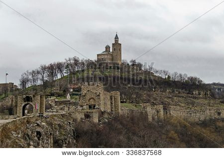The Main Entrance And Fortress Of Tsarevets, Medieval Stronghold Located On A Hill With The Same Nam
