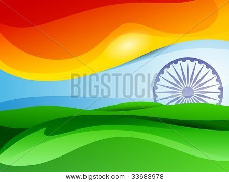 Indian tricolor flag Asoka wheel for Republic Day and Independence Day, Vector illustration .EPS 10.