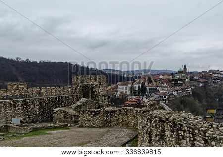 Springtime Panorama Of A Ruins Of Tsarevets, Medieval Stronghold Located On A Hill With The Same Nam