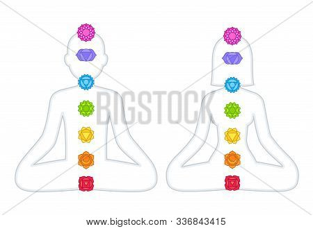 Chakras Chart On Male And Female Body. Man And Woman Silhouette In Lotus Pose With Symbols Of Energy