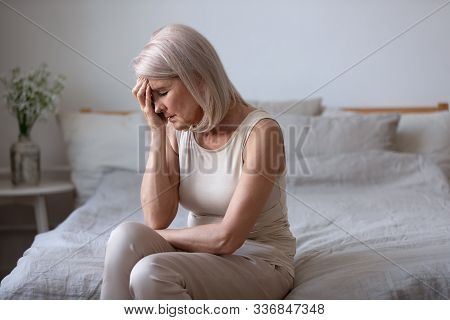 Aged Woman Feels Unwell Suffers From Barometric Pressure Headache
