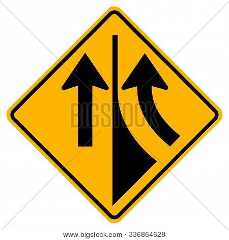Warning Road Sign Merging From The Right,vector Illustration, Isolate On White Background Label. Eps