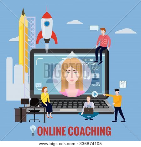 Online Coaching Training, Education, Workshops And Courses. E-learning Page Students Studying, With