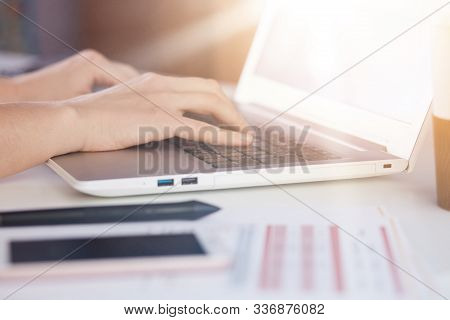 Woman Hands Typing On Lap Top Keyboard, Smart Phone, Paper, Document, Notebook On White Table On Off