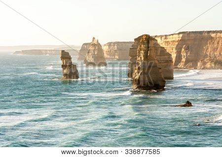 Blue Ocean Waves Near Twelve Apostles Sea Rocks. Famous Landmark Near Great Ocean Road , Port Campbe