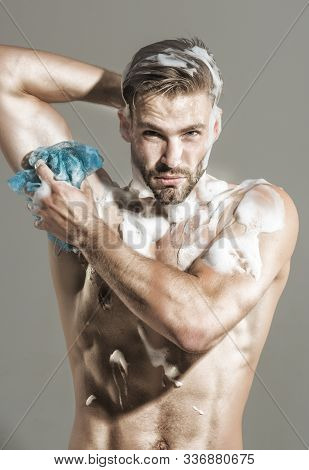 Spa, Hygiene, Relax. Naked Man Taking Shower With Foam. Man In Shower. Fitness Man With Muscular Bod