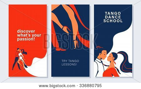 Collection Of Banners And Cards With Tango Dancers Pair In Flat Minimalistic Style. Advertising For