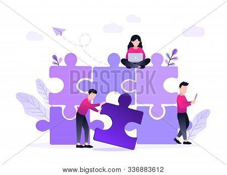 Finding Solution, Problem Solving. Teamwork And Partnership. Working Team Collaboration, Enterprise