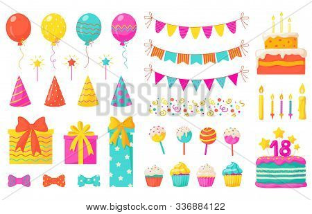 Birthday Decoration. Kids Party Design Elements, Confetti Balloons Cakes Colorful Paper Ribbons Cand