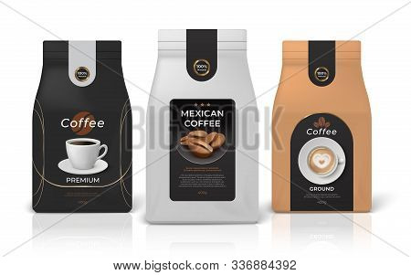 Coffee Package Mockup. Realistic Food Pack Mockup With Brand Identity Design, Black White And Brown