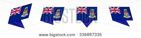 Flag Of Cayman Islands In Modern Abstract Design, Vector Flag Set.