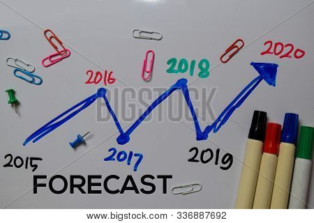 Forecast 2020 Write On White Board Background. Chart Or Mechanism Concept