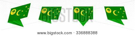 Flag Of Cocos Islands In Modern Abstract Design, Vector Flag Set.