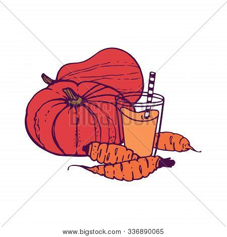 Pumpkin And Carrot Juice Or Smoothie With A 2 Whole Pumpkin And 3 Carrots. Hand-drawn In Cartoon Sty