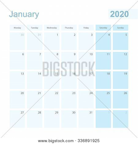2020 January Wall Planner In Blue Pastel Color, Week Starts On Monday. Calendar For January 2020 Wit