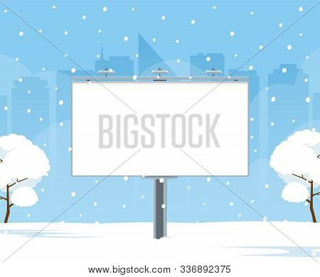 Blank Billboard On Background Winter City Landscape. Christmas City Billboard. Mockup Of Billboard F