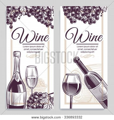 Sketch Wine Banners. Classical Alcoholic Drink Bottle And Wineglasses Grapes Flayers, Invitation Car