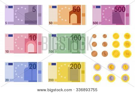 Euro Banknotes. European Banks Financing, Paper Euro And Dollar Money And Coins Of Different Denomin
