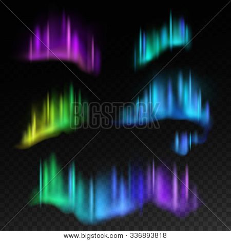Northern Lights. Isolated Aurora Borealis, Bright Stripes In Night Sky Vector Abstract Swirl Reflect