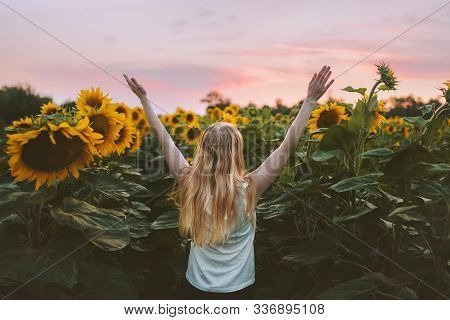 Woman Happy Raised Hands In Sunflowers Field Harmony With Nature Travel Healthy Lifestyle Outdoor Va