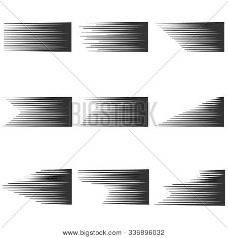 Speed Line Set. Horizontal Motion Effect. Vector Speed Backgrounds. Speed Lines Isolated Set. Motion
