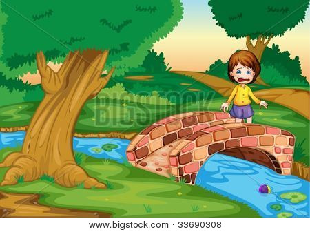 Illustration of a gril crying ona  bridge