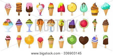 Ice Cream Cartoon Vector Set Icon.vector Illustration Icon Chocolate Ice Cream In Cone.isolated Cart