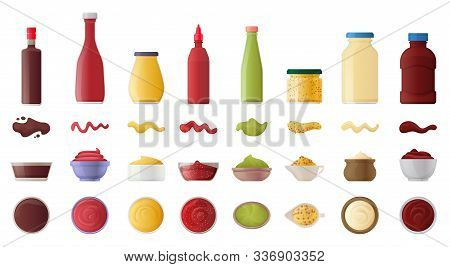 Sauce For Bbq Realistic Vector Set Icon.vector Illustration Icon Ketchup And Dip. Isolated Illustrat