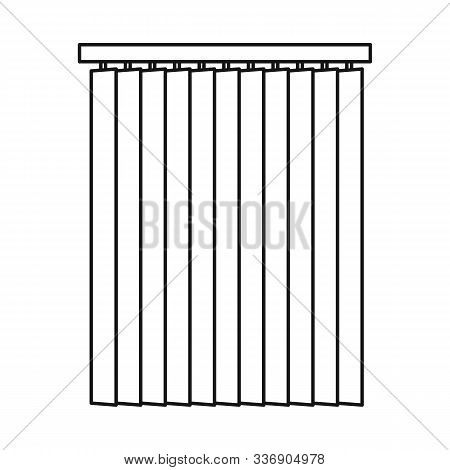 Vector Illustration Of Blinds And Wooden Sign. Graphic Of Blinds And Casement Stock Symbol For Web.