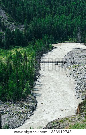 Mountain River In Rocks. Flow Of Water In Mountain Valley In Altai