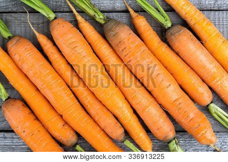 Fresh Carrots On Wooden Table, Cooking Vegetarian Dishes, Growing Vegetables Farm