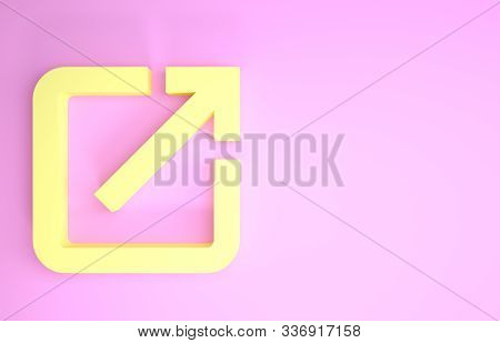 Yellow Open In New Window Icon Isolated On Pink Background. Open Another Tab Button Sign. Browser Fr